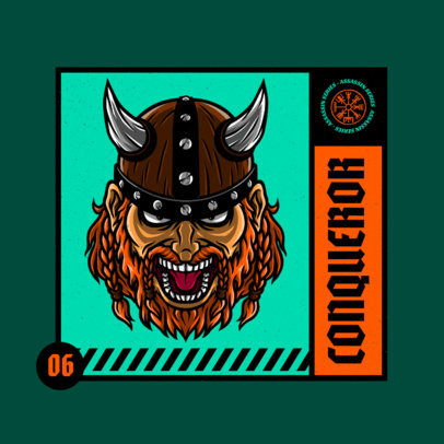 Logo Maker Featuring a Detailed Illustration of an Aggressive Viking Warrior 4229e