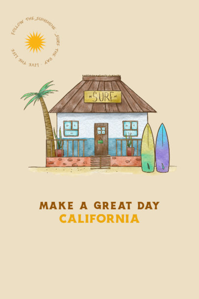 Illustrated Poster Design Creator with a California Beach Hut 4232b
