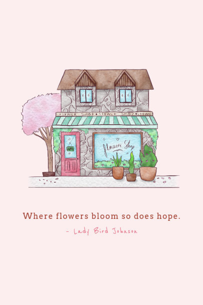 Poster Design Template with an Illustration of a Flower Shop 4232c