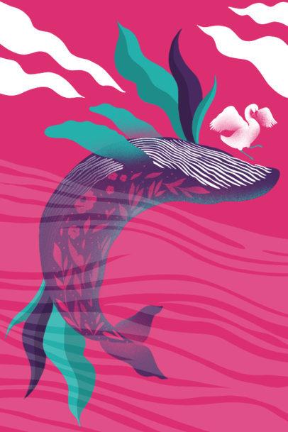 Art Print Design Generator Featuring a Whale Clipart 3564f
