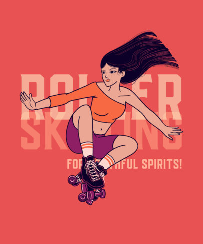Rollerskating-Themed T-Shirt Design Maker with a Dynamic Graphic 3566e