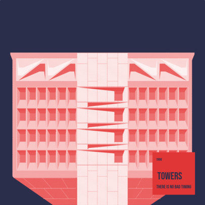 Jazz Album Cover Template Featuring a Minimal Illustration of a Building 3571c
