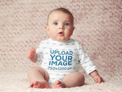 Mockup Featuring a Serious Baby Girl Wearing a Sublimated Onesie m3786-r-el2