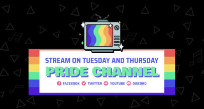 Twitch Banner Template Featuring LGBTQ-Pride Icons 3590