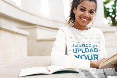 Sweatshirt Mockup Featuring a Young Female Student M4254-r-el2
