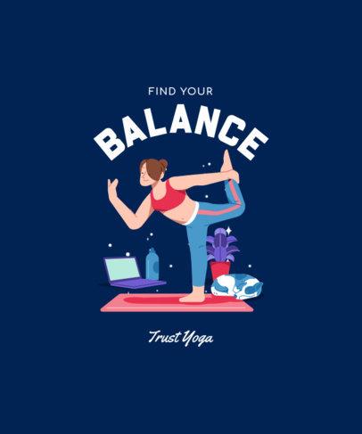 Illustrated T-Shirt Design Maker Featuring a Woman Taking Online Yoga Classes 3803e-el1