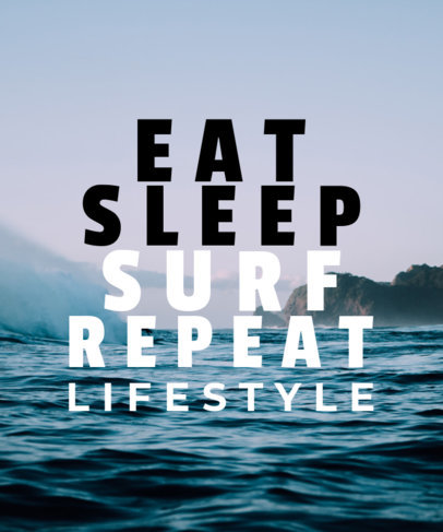 Surf-Themed T-Shirt Design Template Featuring a Cool Quote 40a