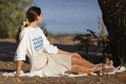 Sweatshirt Mockup of a Woman at a Picnic by a Lake m3837-r-el2