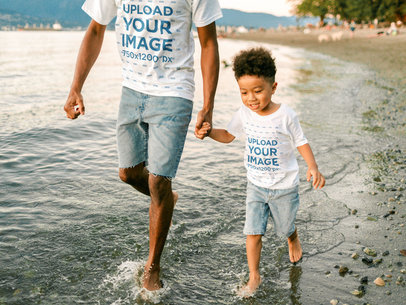 T-Shirt Mockup Featuring Father and Son at a Lake m5130-r-el2