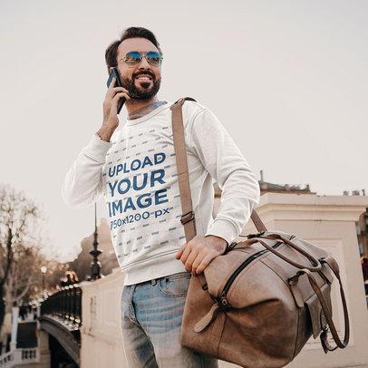 Sweatshirt Mockup of a Traveler Talking on His Cellphone m4216-r-el2
