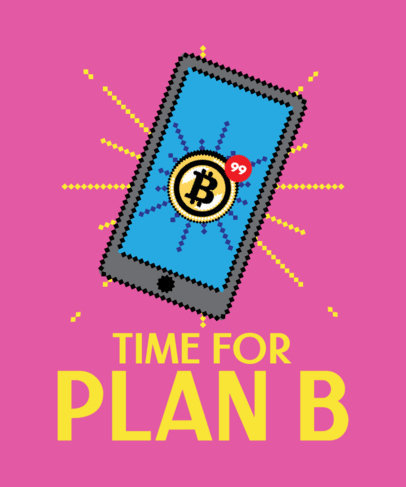 T-Shirt Design Creator Featuring an 8-bit Smartphone with Bitcoin Notifications 3583f
