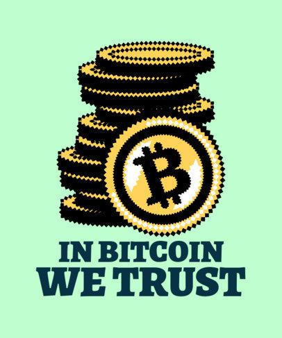 Retro T-Shirt Design Template Featuring a Pile of Bitcoins 3583a