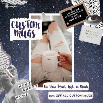 Instagram Post Video Maker for a Custom Mugs Ad with Collage-Style Graphics 1227a 3132