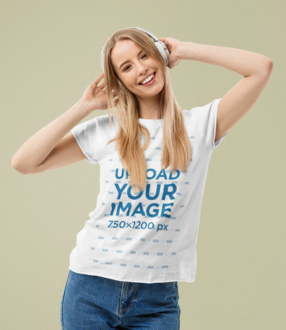 T-Shirt Mockup of a Happy Young Woman Listening to Music at a Studio m3981-r-el2