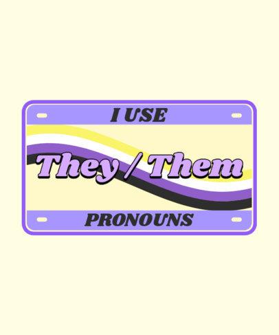 License Plate-Themed T-Shirt Design Maker for an LGBTQ Supporter 3595g