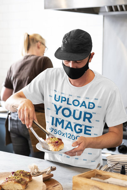 T-Shirt Mockup Featuring a Cook Working m4759-r-el2
