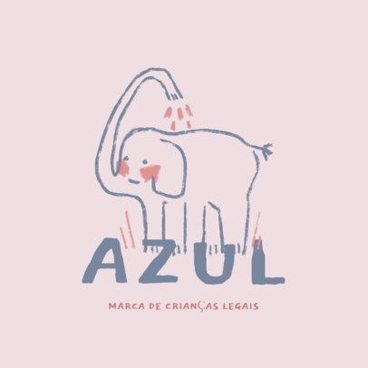 Kids' Clothing Brand Logo Generator Featuring an Elephant Illustration 4253j