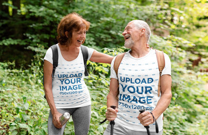 T-Shirt Mockup Featuring a Happy Couple of Seniors on a Hike m4530-r-el2