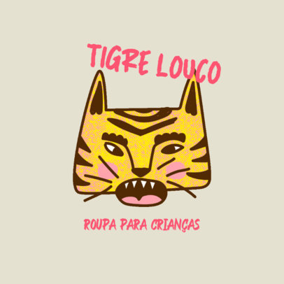 Illustrated Logo Template for a Kids' Apparel Store Featuring a Tiger Graphic 4256b