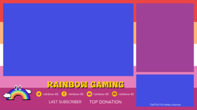 Twitch Overlay Design Template for Gamers Featuring a Cute Rainbow Graphic 3590a