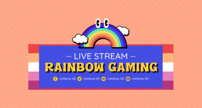 Twitch Banner Template for Gamers Featuring a Cute Rainbow Graphic 3590a