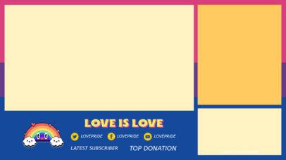 LGBT-Themed Twitch Overlay Design Template Featuring a Happy Rainbow Cartoon 3590d