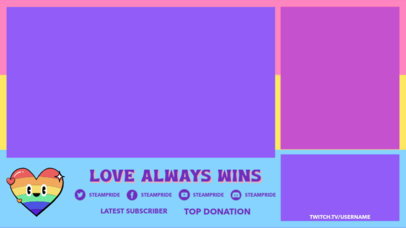 LGBTQ-Themed Twitch Overlay Design Generator Featuring a Colorful Heart Graphic 3590b