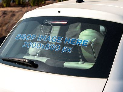 Angled Template of the Back Window Decal of a White Car a15353