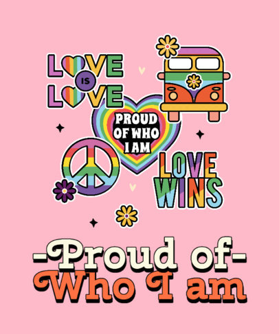 Colorful T-Shirt Design Template With an LGBTQ Pride Quote and Stickers 3602j