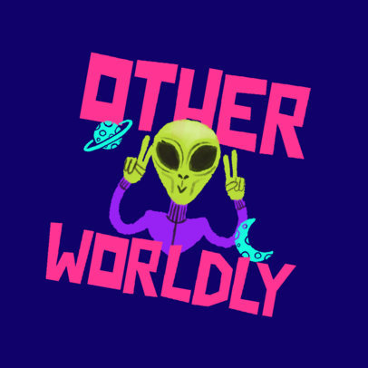 Online Logo Generator for Kids' Clothing Stores Featuring an Alien Clipart 4255e