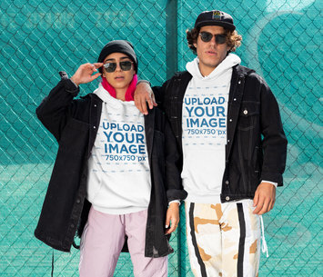Hoodie Mockup of a Couple Wearing Athleisure Outfits M516