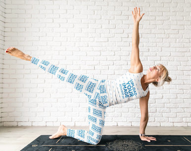 Sublimated Tank Top and Leggings Mockup of a Woman Doing Yoga M4708-r-el2