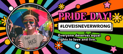 Facebook Cover Template Featuring an LGBTQ Pride Theme and a Colorful Background 3607