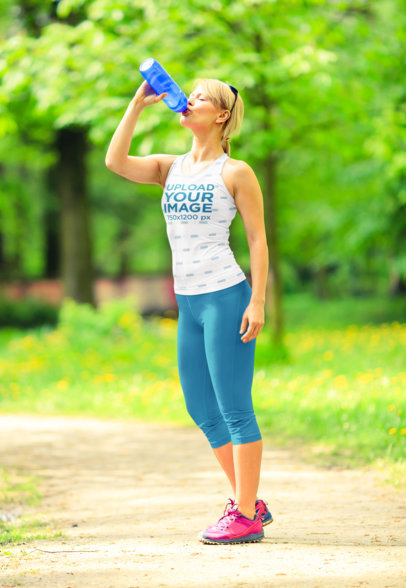 Sublimated Tank Top of a Jogger Drinking Water at a Park M4137-r-el2