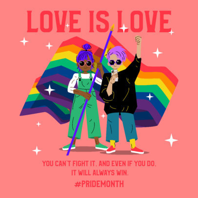 Instagram Post Design Template Featuring a Pride Month Theme 3610