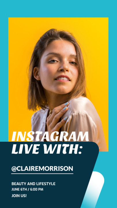 Instagram Story Maker Announcing a Live Session with a Beauty Guru 3824c-el1