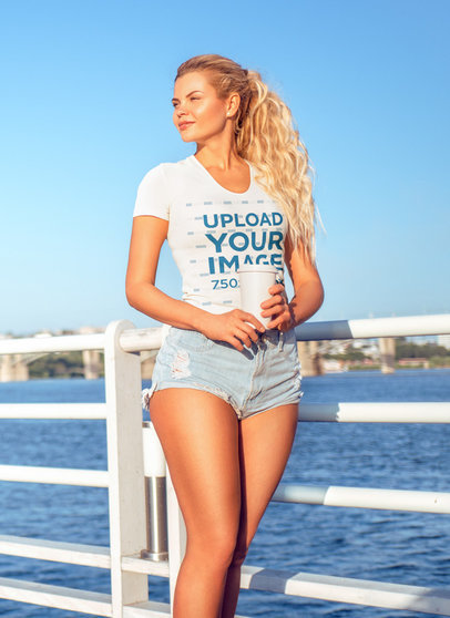 Tee Mockup of a Woman Posing By the Ocean 40594-r-el2