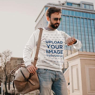 Sweatshirt Mockup of a Man Checking His Watch m4231-r-el2