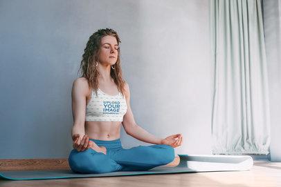 Sports Bra Mockup Featuring a Woman in a Meditation Pose m5701-r-el2