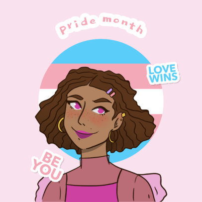Pride Month-Themed Twitch Emote Logo Maker Featuring Illustrated Characters 4286