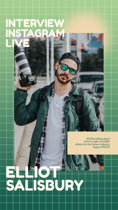 Photography-Themed Instagram Story Design Generator to Announce a Live Interview 3826b-el1