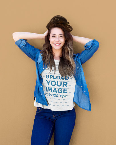 T-Shirt Mockup of a Happy Woman Wearing Denim 45227-r-el2