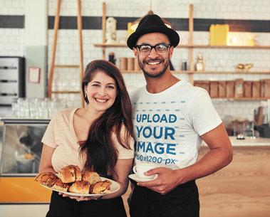 T-Shirt Mockup Featuring a Happy Man at a Coffee Shop m4422-r-el2