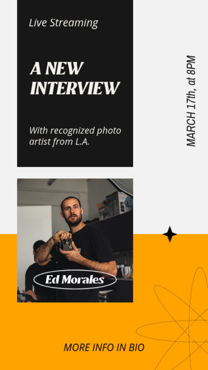 Instagram Story Template Announcing an Interview with a Photographer 3822d