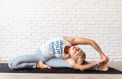 Sublimated Tank Top Mockup of a Woman Doing an Advanced Stretch m3380-r-el2