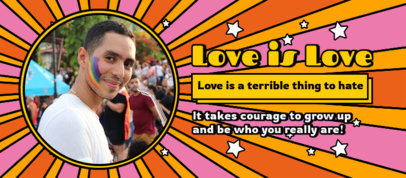 Facebook Cover Template Featuring an LGBTQ-Themed Quote and a Groovy Background 3607f