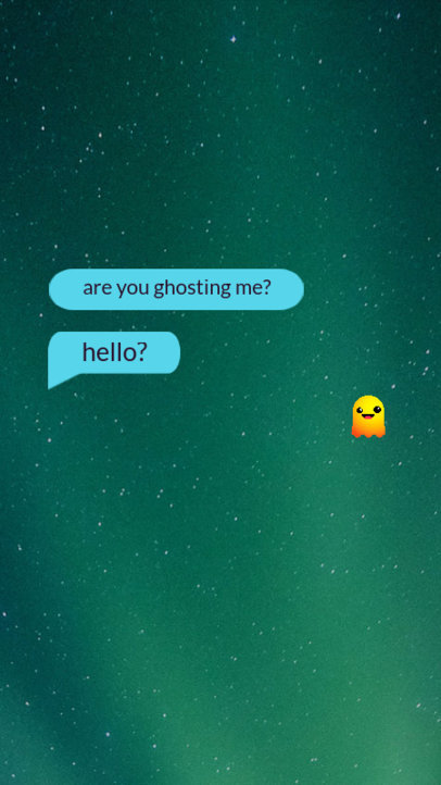Instagram Story Template Featuring a Short Text Conversation and a Ghost Emoji 3605c