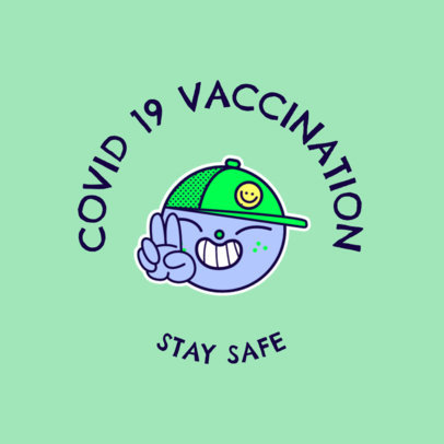 T-Shirt Design Maker Featuring a Sticker and a Coronavirus Vaccination Theme 4282f