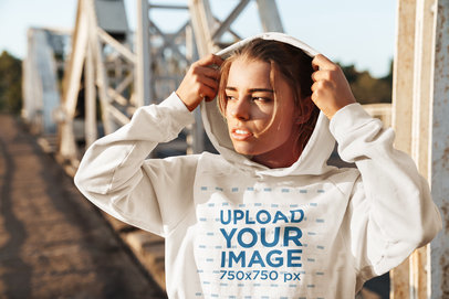 Pullover Hoodie Mockup Featuring a Woman in an Urban Setting 46193-r-el2