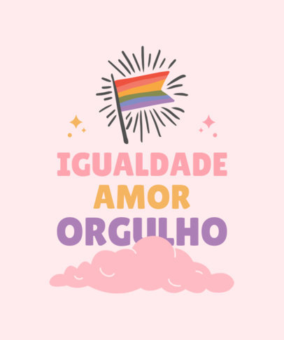 LGBT T-Shirt Design Template Featuring an Inspiring Quote in Portuguese 3832a-el1